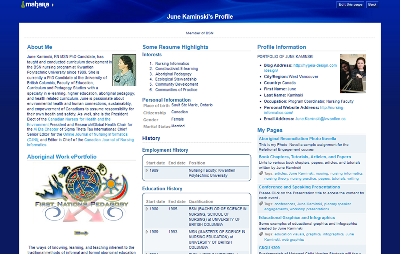Mahara Resume and Profile page